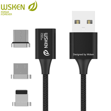 WSKEN Lite 3 in 1 USB Magnetic Cable for Micro USB Type C Cable for iPhone X 8 7 6 5 Magnetic Charger Fast Charging USB C Cable