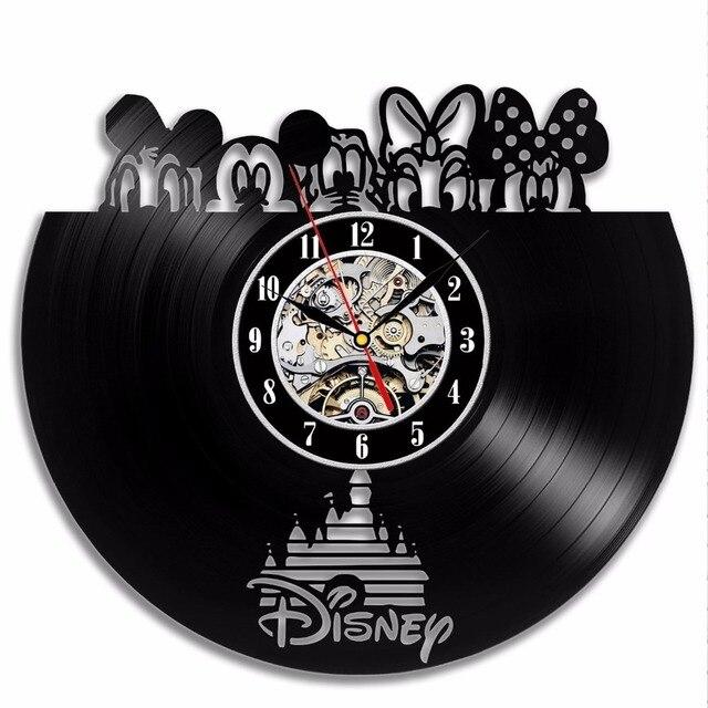 Mickey Mouse CD Đen Vinyl Kỷ Lục Đồng Hồ Treo tường Hiện Đại thiết kế cổ điển đồng hồ trên tường nhà Horloge Murale slient nhà bếp đồng hồ