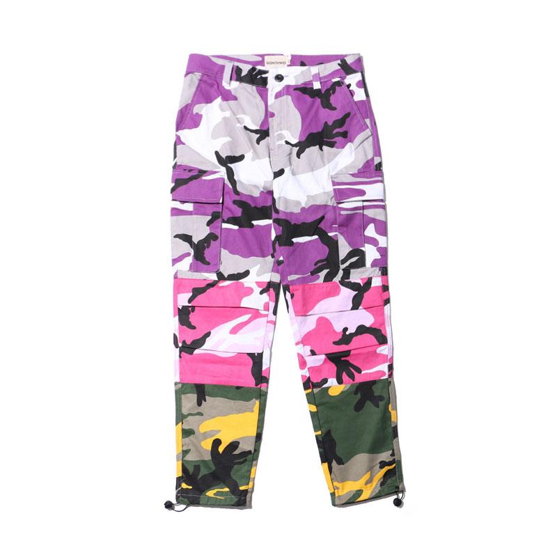 Tri Color Camo Patchwork Cargo Pants 3