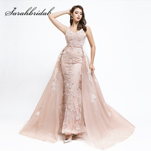 2019 Charming Long Mermaid Evening Dresses with Detachable Tail Lace Appliques Formal Women Party Gowns Prom Dress L5478