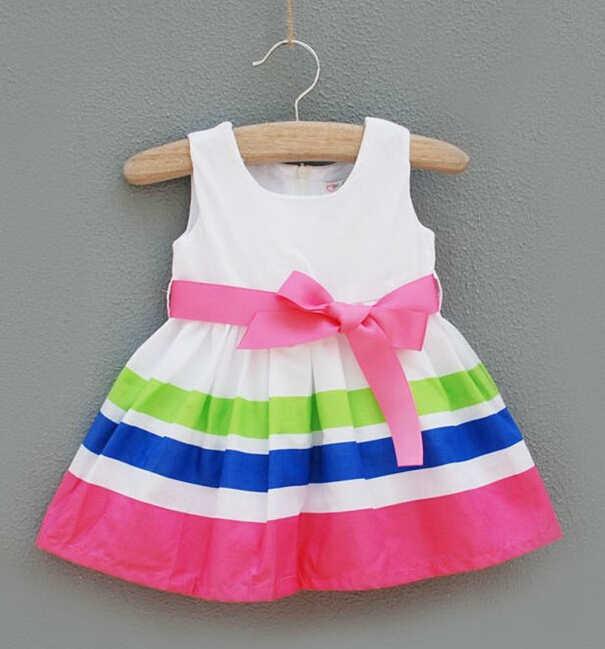 2017 תינוקות בנות להתלבש/אדום ולבן עם פסים שמלת נסיכת בנות עם Bowknot/קיץ חדש בגדי בנות DS50