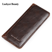 LUCKYER BEAUTY Genuine Crazy Horse Cowhide Leather Men Long Wallet Purse Card Holders Vintage Wallet Brand High Quality Designer