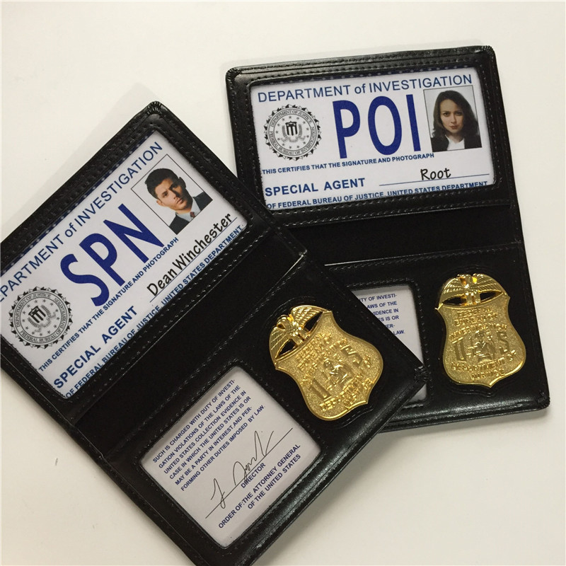 Supernatural/SPN Root/Dean/Sam Person Of Interest/POI FBI Badge Card Holder ID Cards Cosplay Wallets Role Playing Props