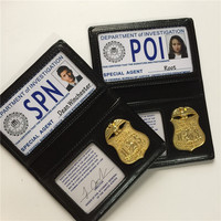Supernatural/SPN Root/Dean/Sam Person of Interest/POI FBI Badge Card Holder Police ID Cards Cosplay Wallets Role Playing Props