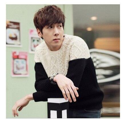 Градиент цвета с круглым вырезом пуловер, свитер для мужчин зимний тренд Свободные Винтаж термальность мужская одежда мужские свитера пуловер для мужчин
