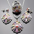 Lan Trendy 925 Sterling Silver Jewelry Sets Multicolor AAA Zircon For Necklace Pendant /Earring /Ring For  Free Shipping
