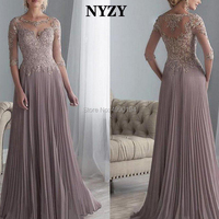 NYZY M144 Elegant Half Sleeves Pleated Chiffon Lace Formal Dress Party Long Mother of the Bride Dresses 2019 vestido formatura