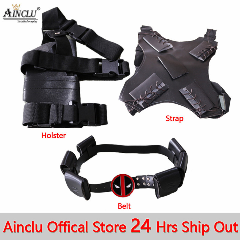 Ainclu 24 Hrs Shipping Out Deadpool Accessories for Men and Boys Including Belt+Holster+Strap Deadpool ACC 3Pcs Suit