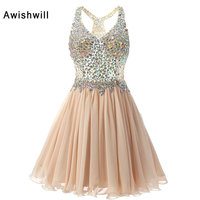 Real Photo Red / Champagne / Royal Blue Short Prom Dresses 2018 Sparkly Beads Rhinestones Chiffon Party Dress for Graduation