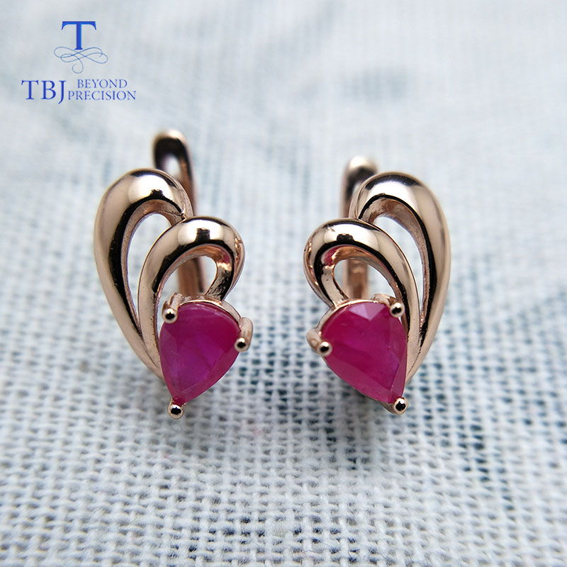 TBJ,natural ruby gemstone simple & classic design earring in 925 sterling silver rose gold color best gift for girls & women-in Earrings from Jewelry & Accessories    3