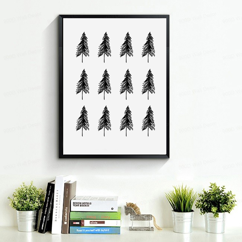<font><b>Scandinavian</b></font> Trees, Nordic Minimalist Art Danish Trees Pattern Canvas Painting Poster Canvas Art Modern <font><b>Home</b></font> <font><b>Decor</b></font> no frame