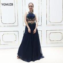 662d974218 Dos piezas vestidos de noche largo 2018 a-line sin mangas bordado con  cuentas Navy mujeres formal prom vestido PARY vestido de S..