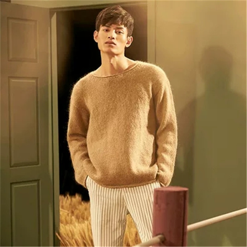 100% Hand Made Pure Wool Knit Men Fashion Oneck Solid H-straight Loose Pullover Sweater White 4color Customized