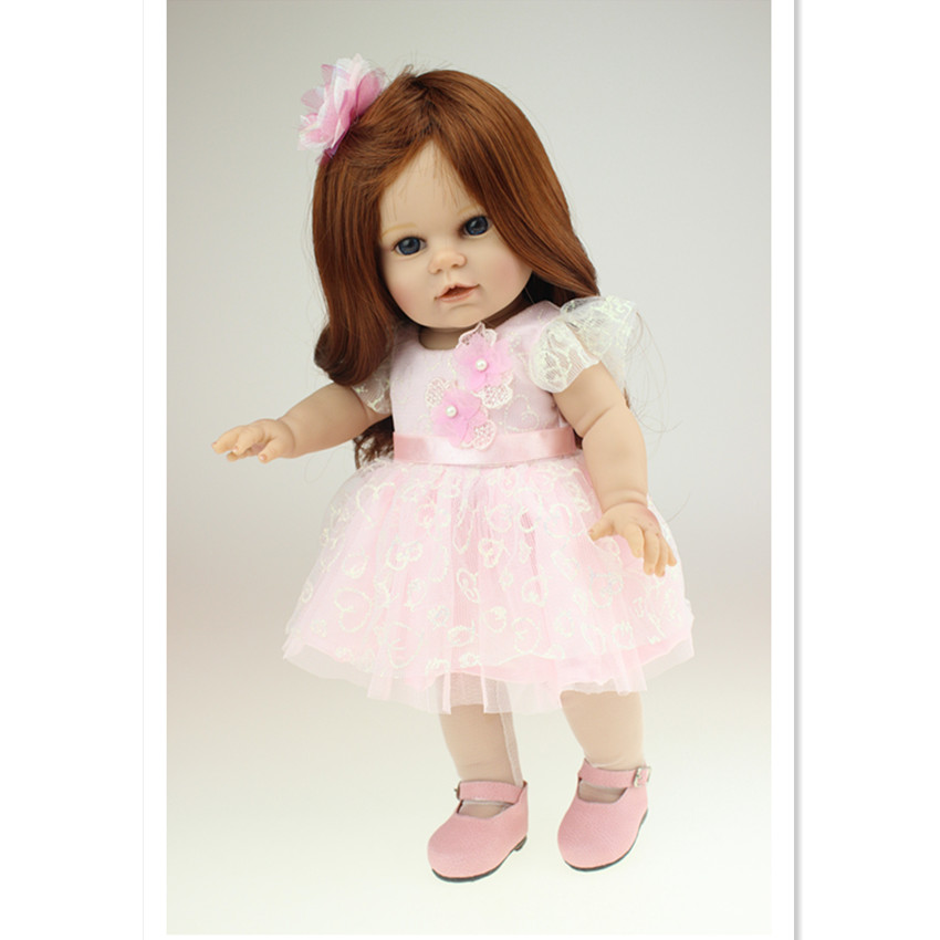 Vivid American Girl Dolls Princess Doll with Pink Dress,18 Inch/40cm Vivid Silicone Baby Doll Toys for Kids novelty 18 inch 45 cm soft american girl dolls princess doll with dress cute lifelike baby toys for children gift free shipping