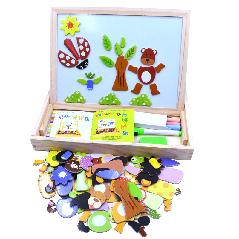 Multifunctional Wooden Chalkboard Animal Magnetic Puzzle Whiteboard Blackboard Drawing Easel Board Arts Toys for Children Kids mylb educational farm jungle animal wooden magnetic puzzle toys for children kids jigsaw baby s drawing easel board