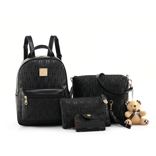 24a4e3b62b Fashion Backpack Women Pu Leather Back Pack Famous Brand School Bags for Girls  sac a dos femme with Purse and Bear Spanish 2017