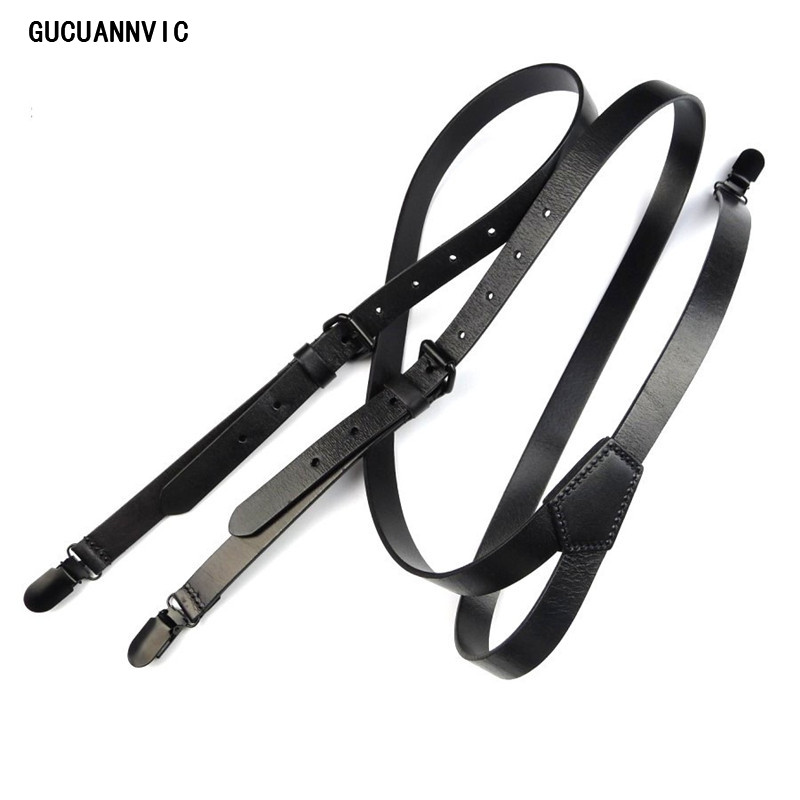 New Retro High-grade Black Genuine Leather Suspenders  Men Women Head Skin Stylish Tri-clamp Suspenders Braces Wide 2CM