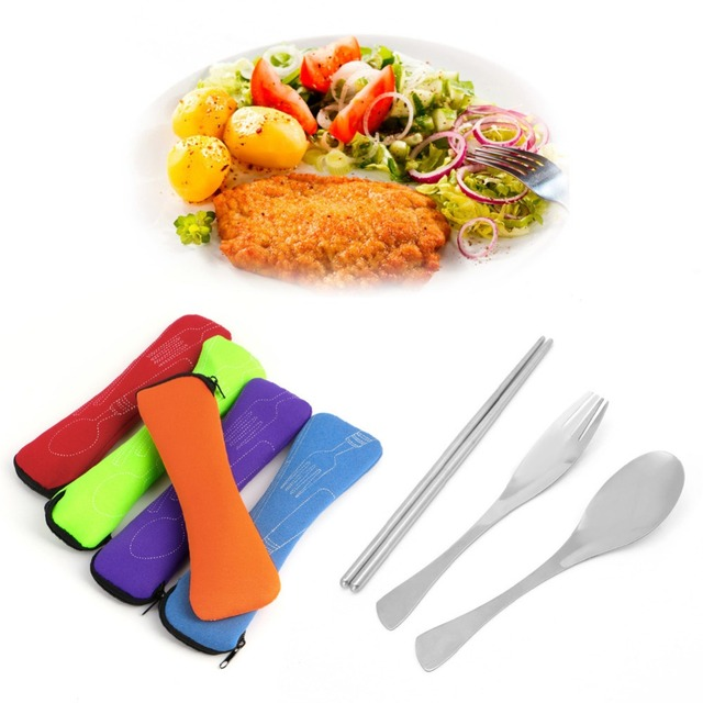 3PCS/SET Portable Outdoor Camping Survival Picnic Tableware Stainless Steel Fork Spoon Chopstick Cutlery with Bags