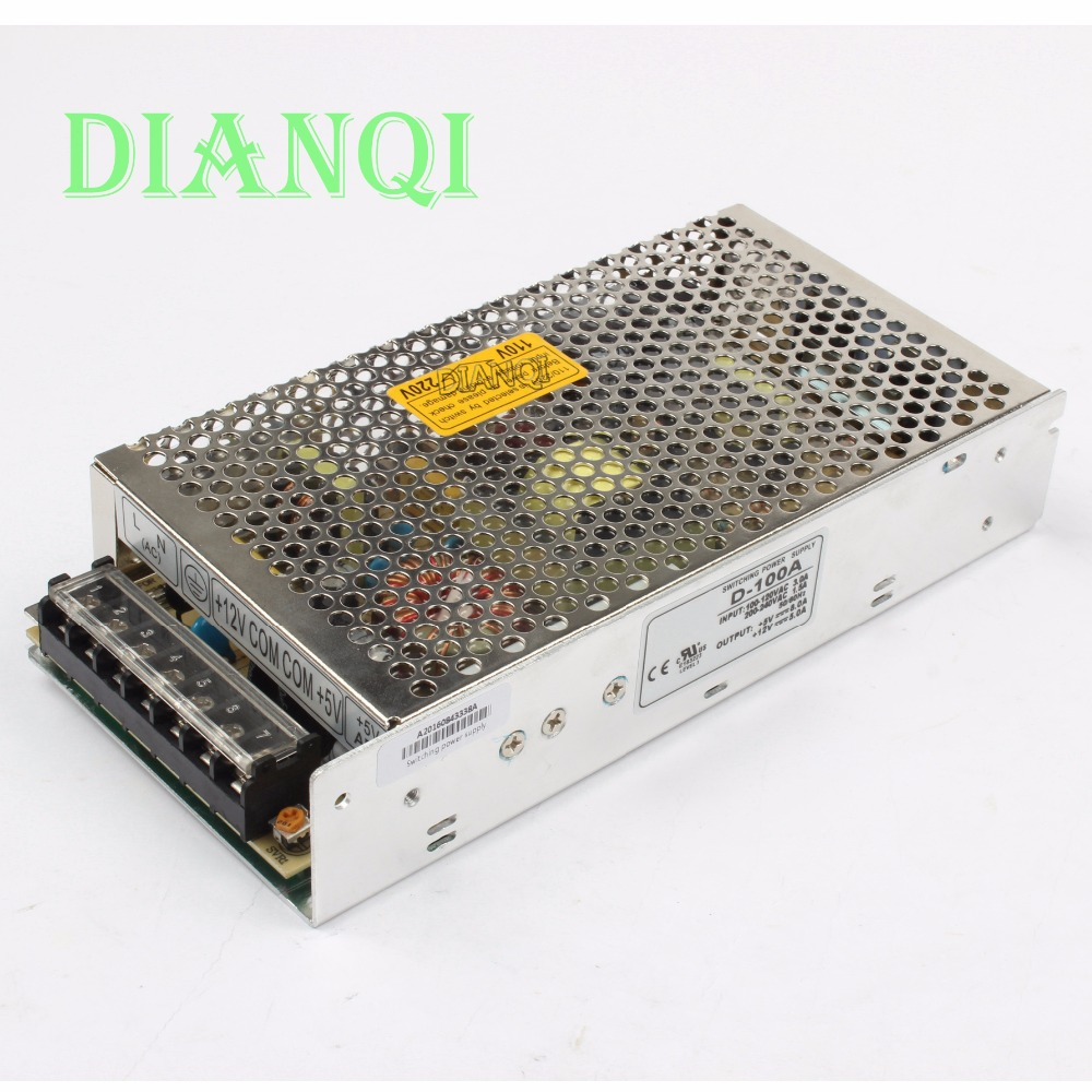 DIANQI dual output power supply 100w <font><b>5V</b></font> 10A, <font><b>12V</b></font> <font><b>4A</b></font> power suply D-100A ac <font><b>dc</b></font> <font><b>converter</b></font> good quality image