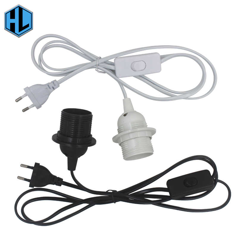 1.8m Power Cord Cable E27 Hanging Light Socket EU Plug with 303 Button Switch Wire 250V Lamp Base for LED Bulb