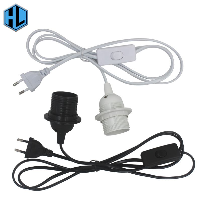 1.8m Power Cord Cable E27 Hanging Light Socket EU Plug with 303 Button Switch Wire 250V Lamp Base for LED Bulb 3 pcs on line cable 1 8m on off power cord for led lamp with push button switch us eu plug wire light switching black white