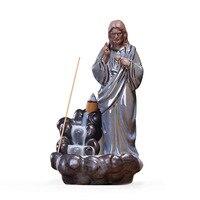 Ceramic Jesus Christ Virgin Mary Statue Figurine Backflow Incense Holder Incense Burner Stick Censer + 10PCS Incense Cones