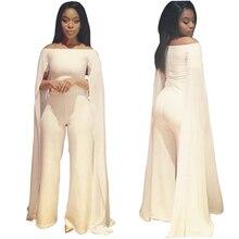 2016 Rompers Womens Jumpsuit White Overalls Slash Neck Cloak Playsuit Combinaison Femme