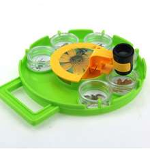 Rotating insect collecting box viewer magnifying lens children science exploration toy biological kindergarten science education