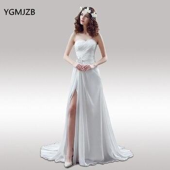 a3fa5d468ae Белое платье цвета слоновой кости простое пляжное свадебное платье ...