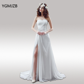 White Ivory Simple Beach Wedding Dress Boho Strapless Beaded Chiffon Bride Dress Bridal Gown Casamento Vestido De Noiva