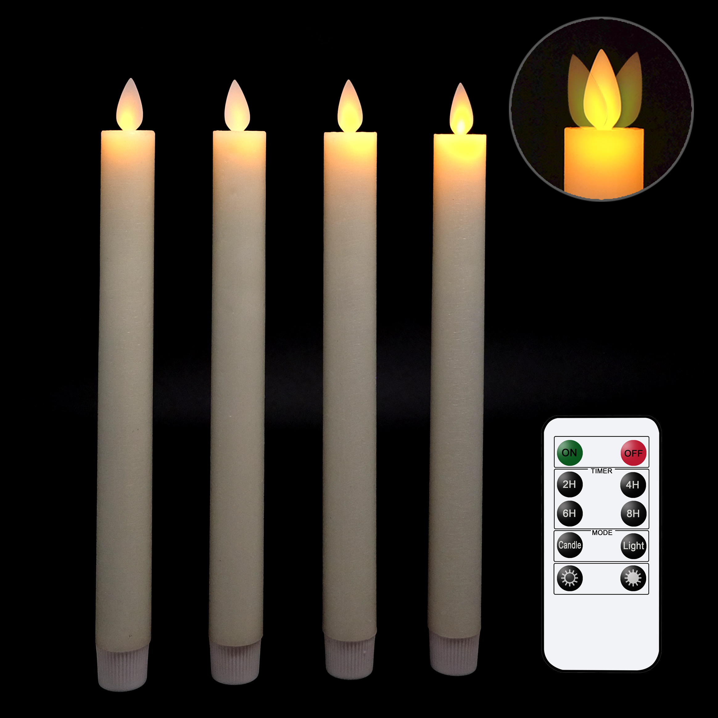 Bougies sans flamme bougies coniques vacillantes vraies bougies coniques sans flamme bougie LED à mèche mobile avec minuterie et télécommande