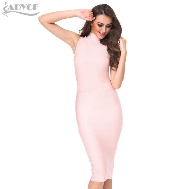 2016 Nuevo Invierno Mujeres Partido Bodycon Vestido de Cuello Alto de Color Caqui Oliva Rojo Blanco Rosa Hasta La Rodilla Vendaje de La Celebridad Del Vestido de Clubwear