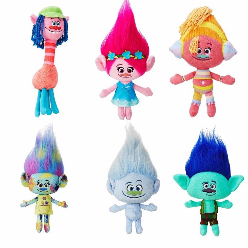 6pcs/set 23cm 30cm Dreamworks The Good Luck Trolls Doll Dream Magic Fairy Hair Wizard Blanche Bobbi Magic Poppy Branch Harper