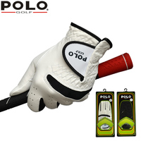 POLO Golf sheepskin Gloves Left and Right Hand Genuine Leather Men's Glove Antiskid Soft Breathable Sports Gloves Accessories