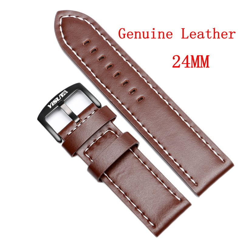 YISUYA 24MM Genuine Leather Smooth Band Wrist Watch Bracelet Soft Replacement Watchband Strap + 2 Spring Bars High Quality replacement genuine leather wrist watchband strap for huawei talkband b3 watch