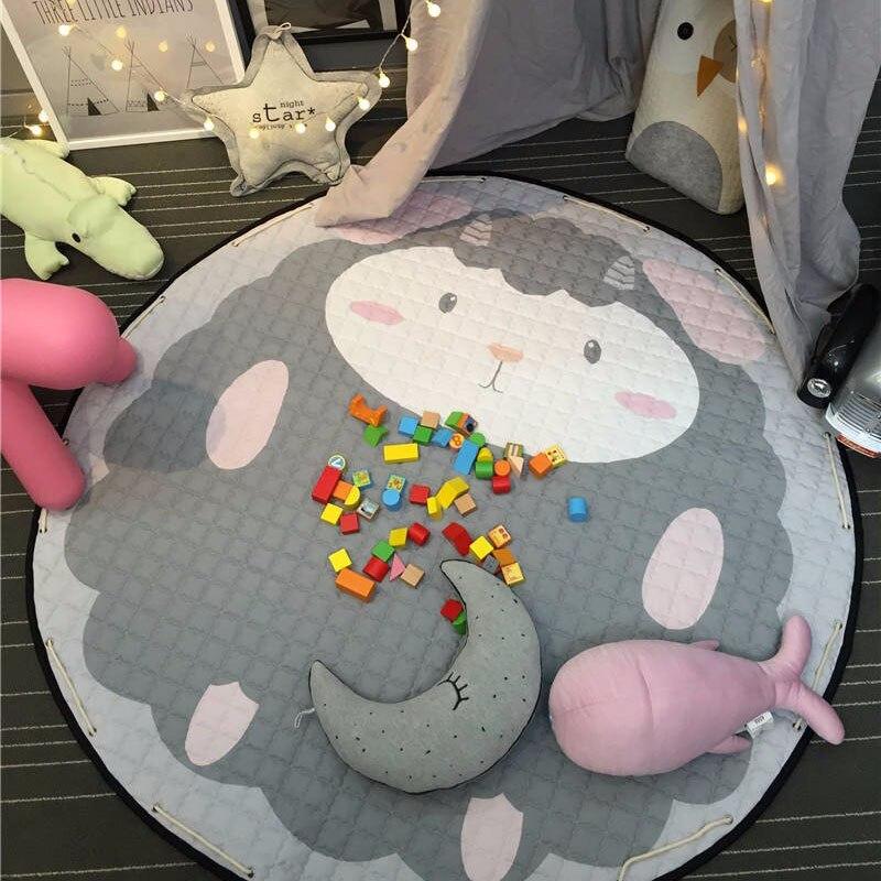 Hot Animal Ears Giraffe Cartoon Rugs Kids Room Carpets Toy Storage Bags 100% Cotton Baby Crawling Picnic Mat 150cm Birthday Gift
