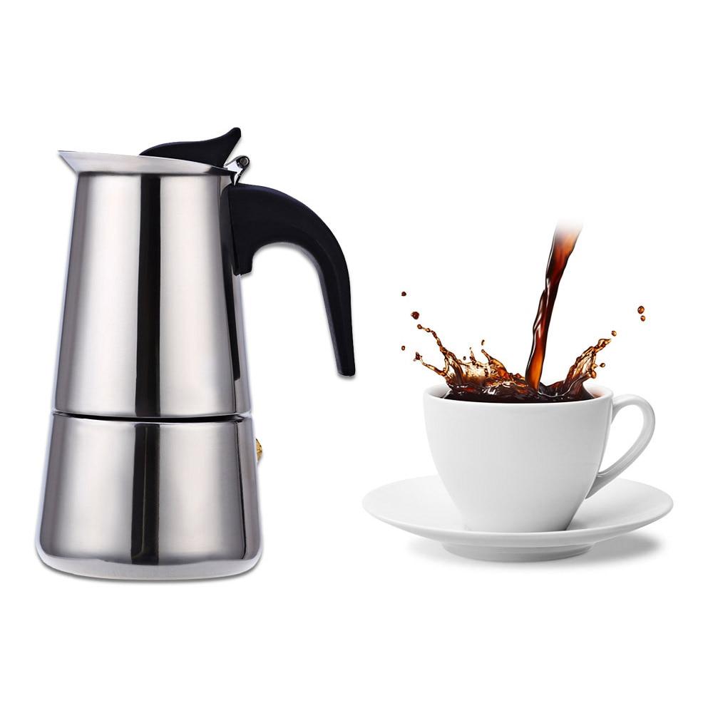Stainless Steel Moka Coffee Maker Pot Mocha Espresso Latte Stovetop Filter Coffee Pots 100ML ...