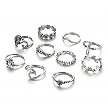 12pcs/set Vintage Silver Crown Women Rings Bohemian Retro Crystal Moon Eyes Shaped Knuckle Set