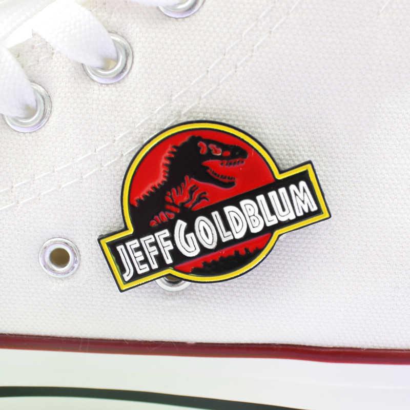 Vintage Jurassic Secolo Dinosauro Personalizzato Spilla Distintivo Creativo JEFF ORO BLUM Giubbotti jeans Risvolto Dello Smalto Spille Gotico Dei Monili