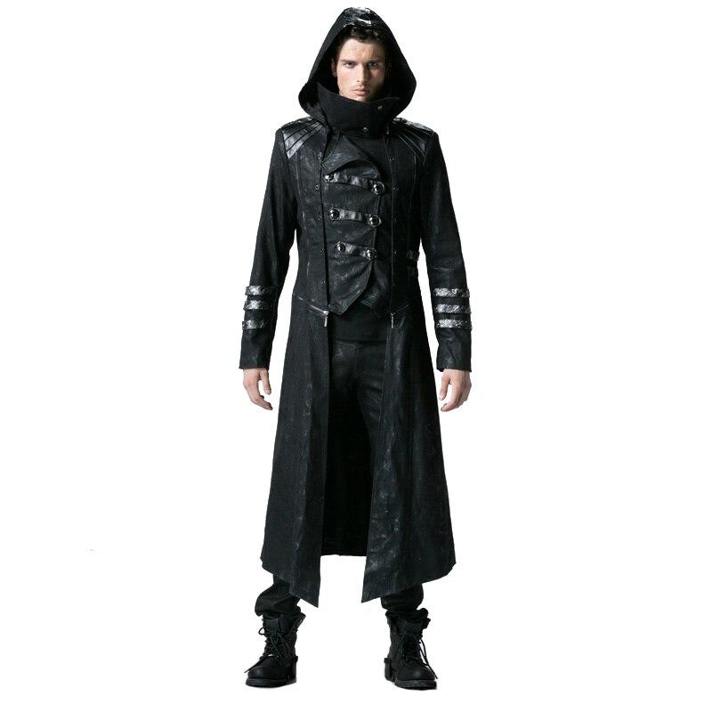 Gothique Noir Hiver Long Manteau des Hommes Steampunk Sergé Col Haut Vestes Punk En Cuir Manteaux Manteaux avec Détachable Hem Et chapeau