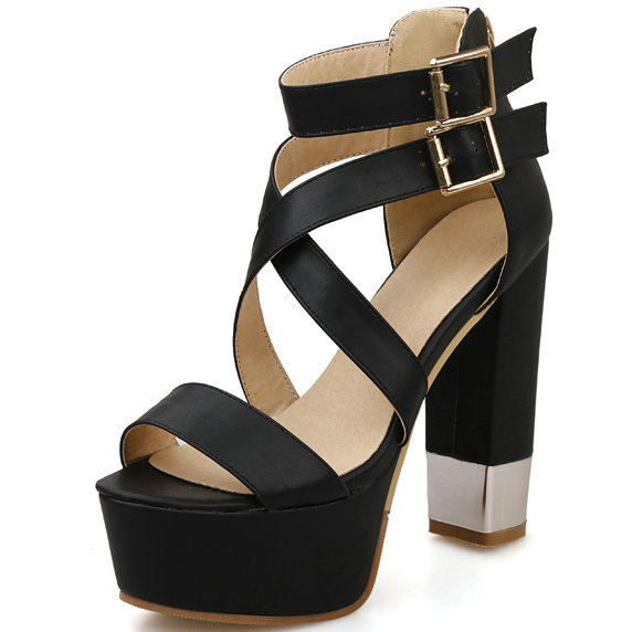 high heel sandals 2015 open toe square platform heeled shoes cutouts buckle straps summer - ShenZhen LULU's Electronic Store store