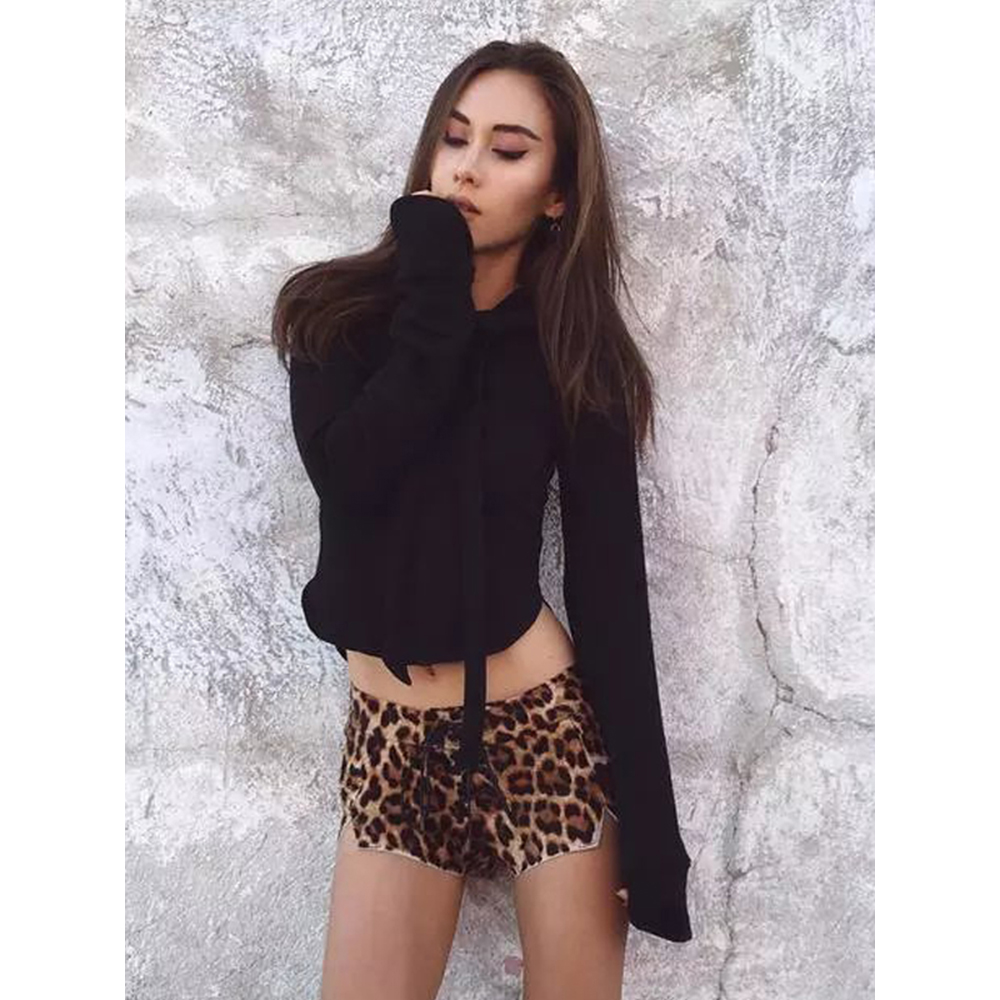 4 Colors Lace Up Long Sleeve Pullovers Casual Short Hoodie Tie Collar Neck Fashion Solid Autumn Crop Tops Sweathirts