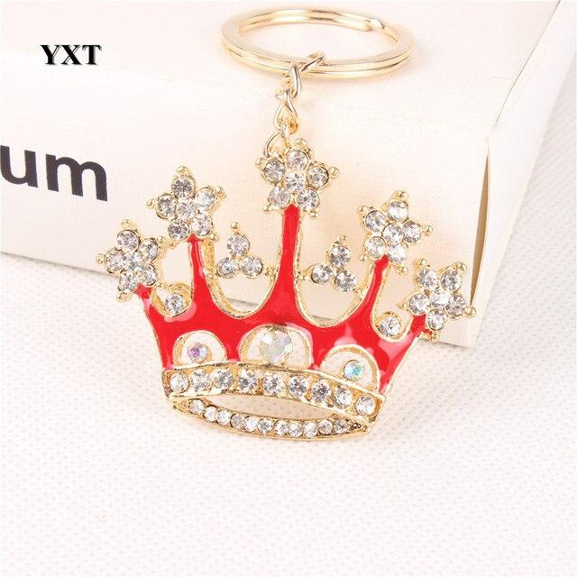 Nueva moda rojo rey corona cristal encanto colgante monedero bolso coche llavero fiesta boda cumpleaños delicado regalo