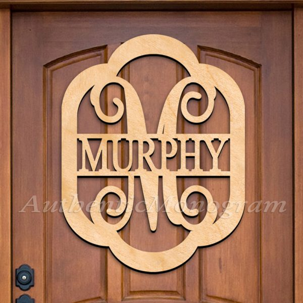 CUSTOM WOODEN MONOGRAM DOOR HANGER LAST NAME IN ROUNDED FRAME SINGLE LETTER VINE NATURAL image