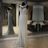 Stunning Long Evening Dress 2018 Mermaid Sheer Back Special Occasion Formal Women Evening Gowns Robe De Soiree Diamond