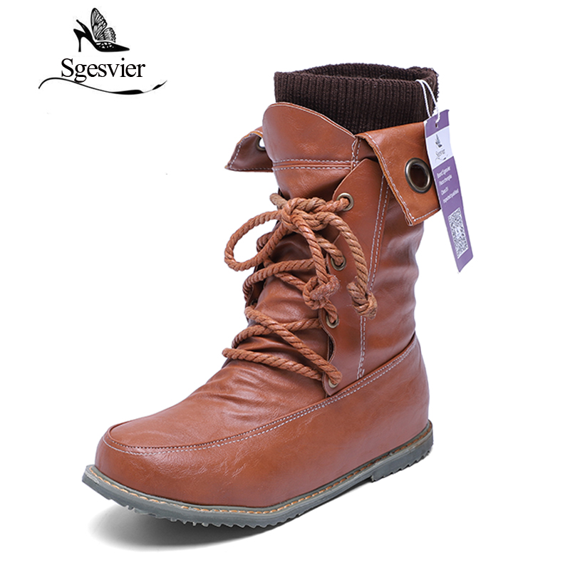 SGESVIER Snow Boots Big Size 34-52 Women Thick Short Plush Lace Up Women Boots Round Toe Platform Winter Shoes Warm Boots OX015 sgesvier women boots snow boots 2017 winter platform heel casual knee high round toe buckle flat size 34 43 lady shoes ox098