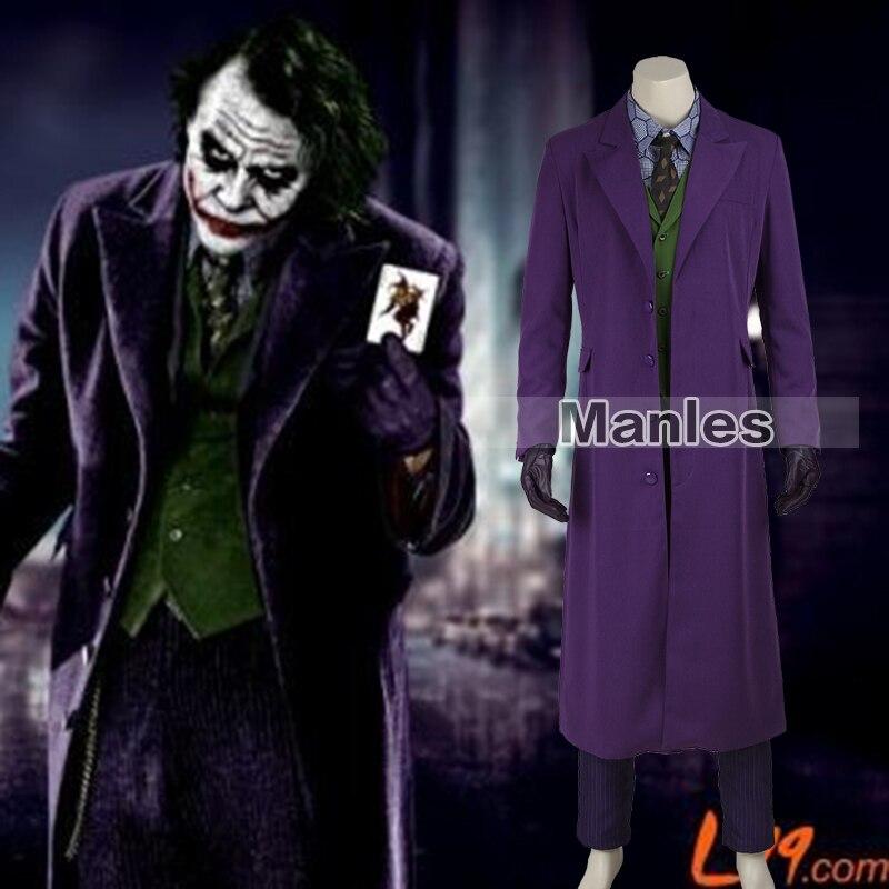 Batman Il Cavaliere Oscuro Joker Costume di Batman Joker Vestito Abiti Classico di Halloween Cosplay Movie Hero Costume Set Completo Custom Made