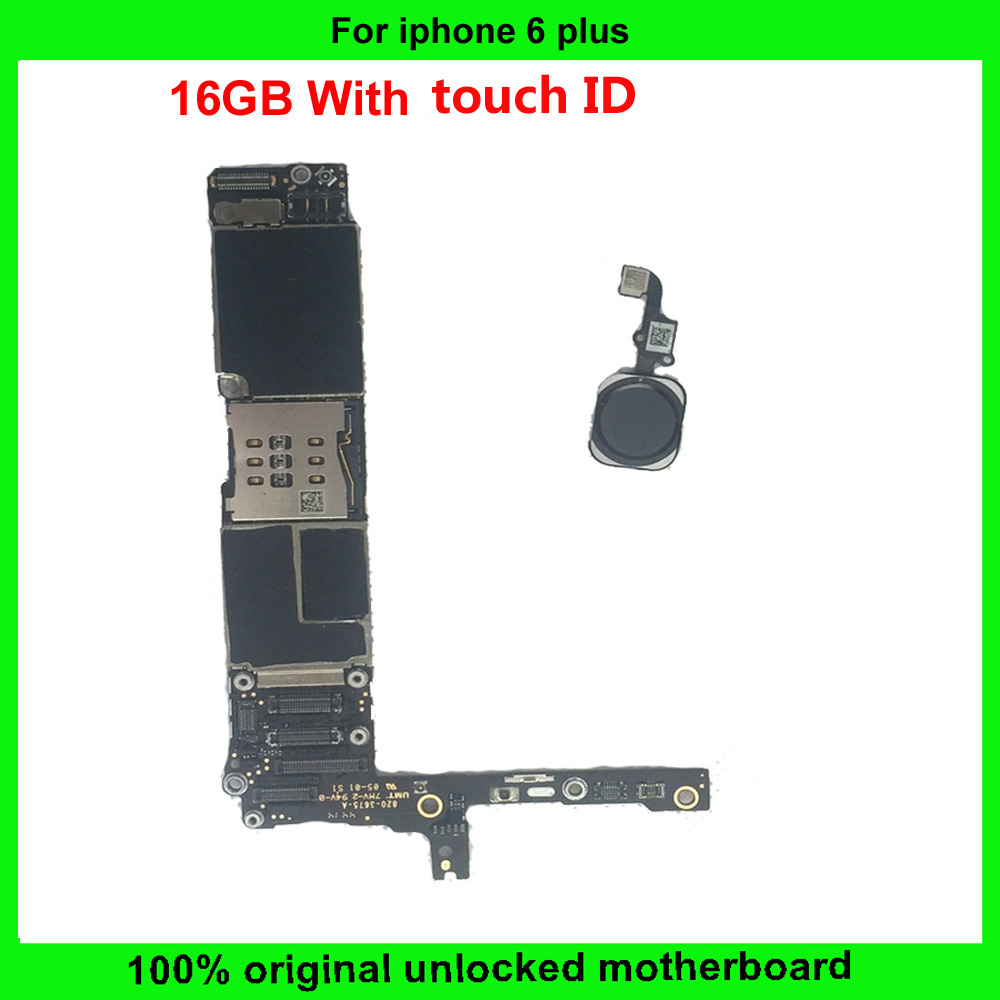 16gb 100 Working Original Unlocked For Iphone 6 Plus Motherboard With Touch Id 6plus Mainboard Ios System Main Plate In Mobile Phone Antenna