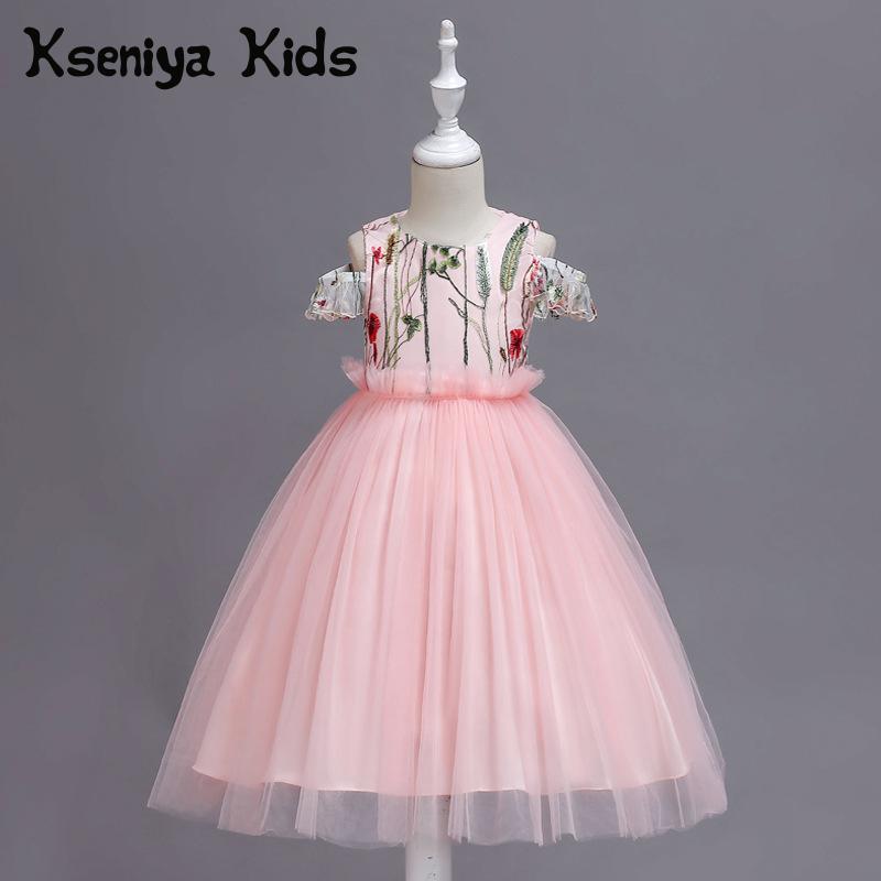 Kseniya Kids 2018 Spring And Summer New Children's Clothing Princess Shoulderless Mesh Lace Sleeveless Big Girl Dress