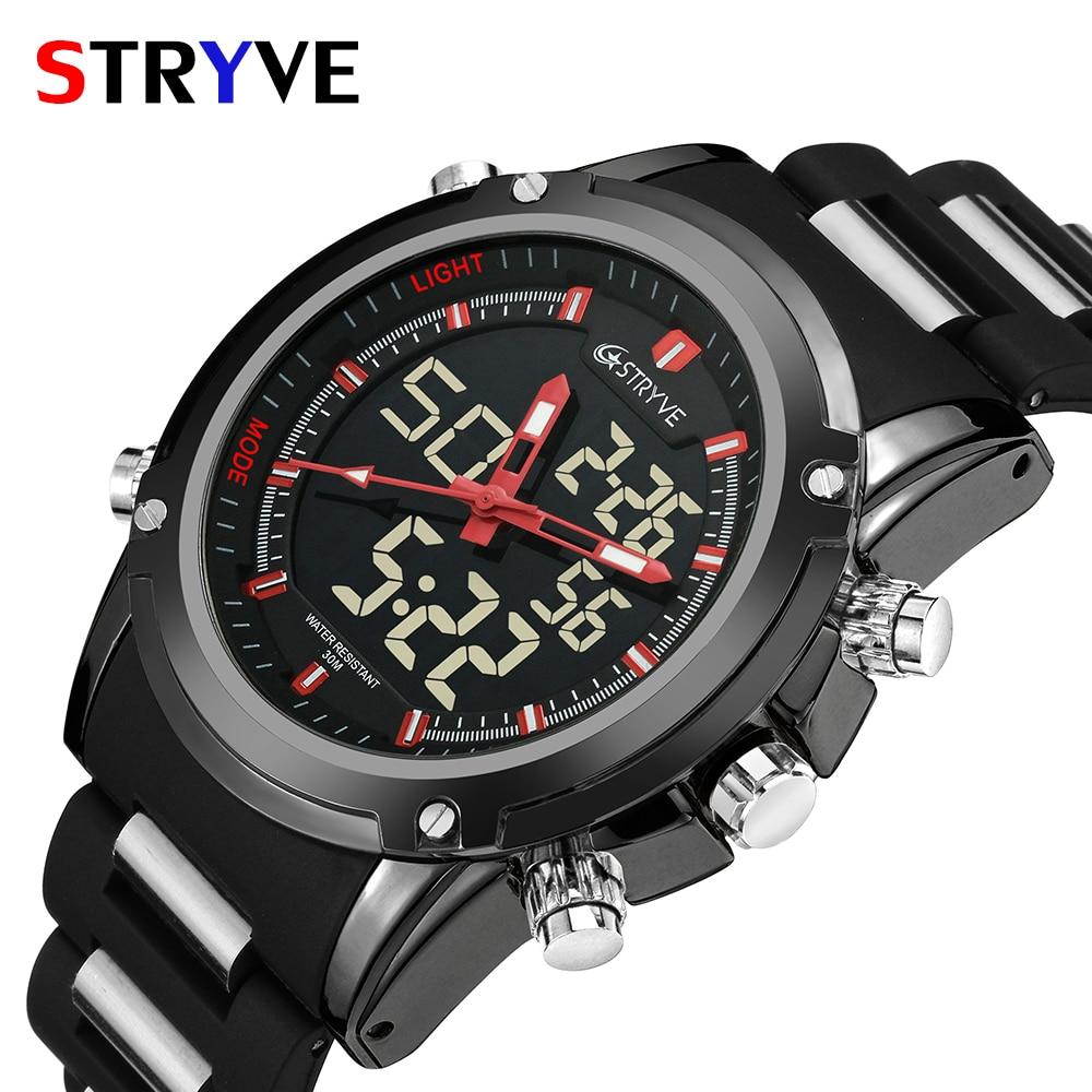 c4404cad6acc Los mejores relojes de hombre de marca de lujo Stryve cuarzo LED reloj de  tiempo Dual deportivo impermeable hombres ejército militar reloj de pulsera  reloj ...